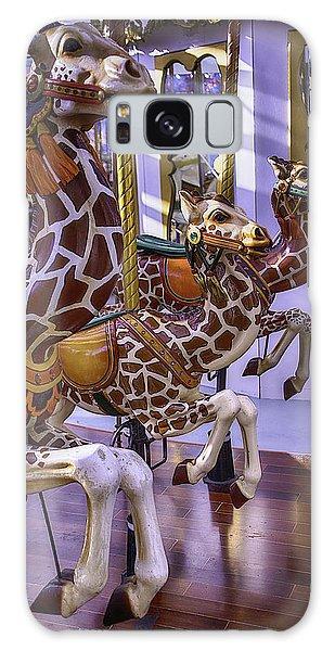County Fair Galaxy Case - Colorful Giraffes Carrousel by Garry Gay