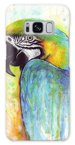 Mixed-media Galaxy Case - Macaw Painting by Olga Shvartsur