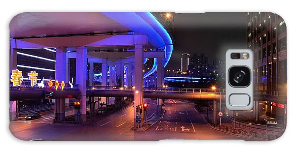 Colorful Night Traffic Scene In Shanghai China Galaxy Case