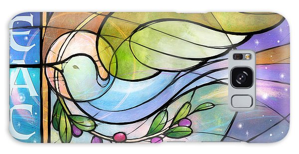 Olive Branch Galaxy Case - Colorful Peace Dove by Randy Wollenmann