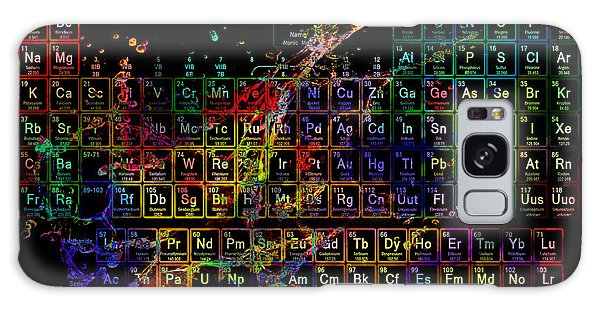 Colorful Periodic Table Of The Elements On Black With Water Splash Galaxy Case by Eti Reid