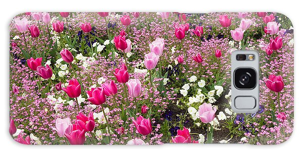 Colorful Pink Tulips And Other Flowers In Spring Galaxy Case