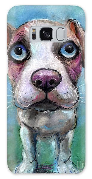 Russian Impressionism Galaxy Case - Colorful Pit Bull Puppy With Blue Eyes Painting  by Svetlana Novikova