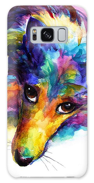 Watercolor Pet Portraits Galaxy Case - Colorful Sheltie Dog Portrait by Svetlana Novikova