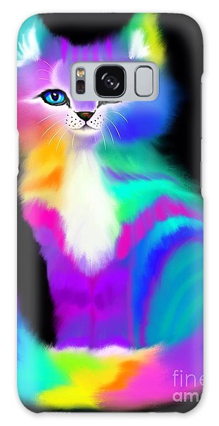 Colorful Striped Rainbow Cat Galaxy Case by Nick Gustafson