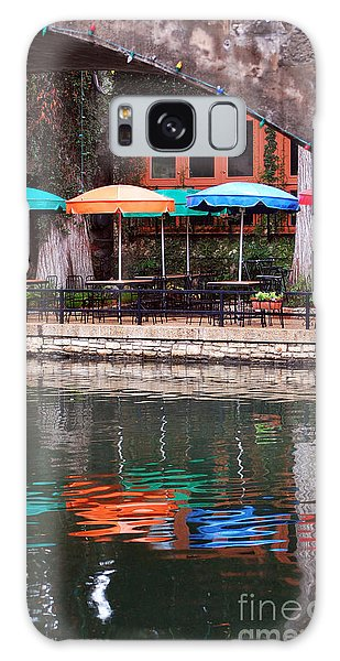 Colorful Umbrellas Reflected In Riverwalk Under Footbridge San Antonio Texas Vertical Format Galaxy Case