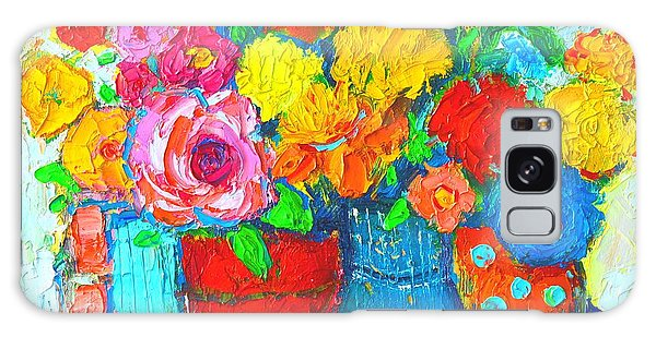 Colorful Vases And Flowers - Abstract Expressionist Painting Galaxy Case