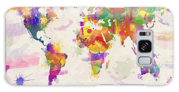 Colorful Watercolor World Map Galaxy Case by Zaira Dzhaubaeva