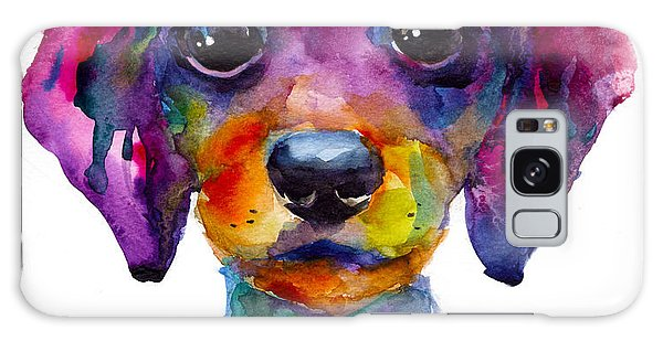 Colorful Whimsical Daschund Dog Puppy Art Galaxy Case