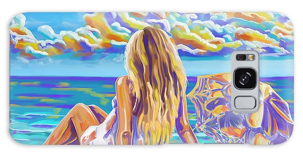 Colorful Woman At The Beach Galaxy Case by Tim Gilliland