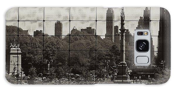 Columbus Circle Through The Time Warner Glass Window Galaxy Case