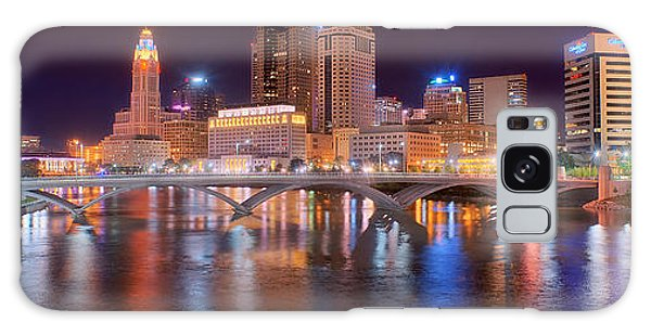 Columbus Skyline At Night Color Panorama Ohio Galaxy Case by Jon Holiday