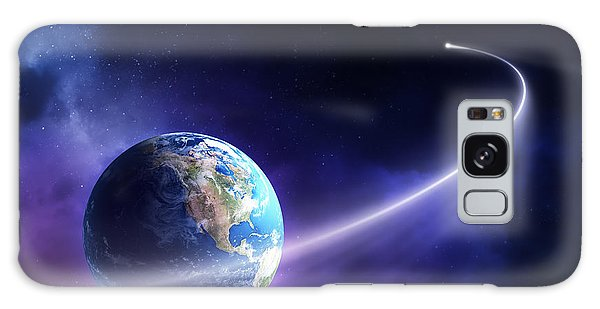 Missing Galaxy Case - Comet Moving Past Planet Earth by Johan Swanepoel