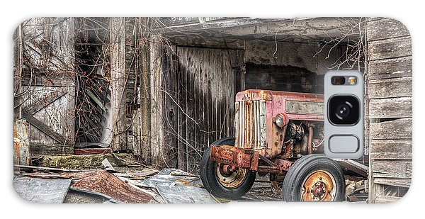 Galaxy Case featuring the photograph Comfortable Chaos - Old Tractor At Rest - Agricultural Machinary - Old Barn by Gary Heller