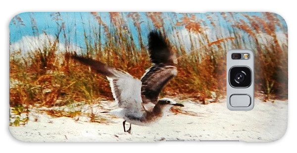 Windy Seagull Landing Galaxy Case by Belinda Lee