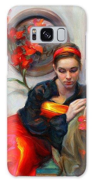 Common Threads - Divine Feminine In Silk Red Dress Galaxy Case