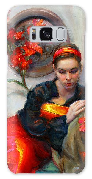 Dress Galaxy Case - Common Threads - Divine Feminine In Silk Red Dress by Talya Johnson