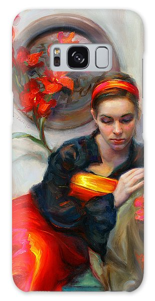Common Threads - Divine Feminine In Silk Red Dress Galaxy Case