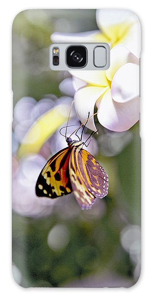 Common Tiger Glassywing Butterfly On Plumeria Bloom Galaxy Case