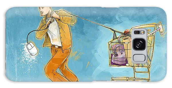 Online Shopping Cart Galaxy Case - Conceptual Illustration Of Man Pulling Shopping Cart by Fanatic Studio / Science Photo Library