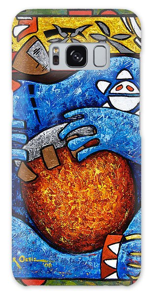 Galaxy Case featuring the painting Conga On Fire by Oscar Ortiz