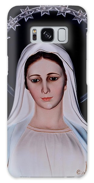 Contemplative Our Lady Queen Of Peace  Galaxy Case by Susan Duda