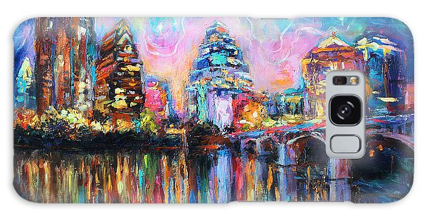 Reflections Galaxy Case - Contemporary Downtown Austin Art Painting Night Skyline Cityscape Painting Texas by Svetlana Novikova