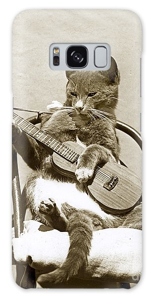Cool Cat Playing A Guitar Circa 1900 Historical Photo By Photo  Henry King Nourse Galaxy Case by California Views Mr Pat Hathaway Archives