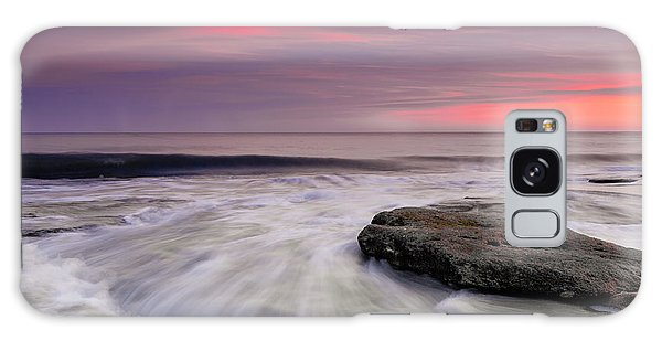 Coquina Rocks Washed By Ocean Waves At Colorful Sunset Galaxy Case