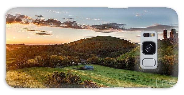 Breaking Dawn Galaxy Case - Corfe Castle Sunrise Panoramic by Simon Bratt Photography LRPS