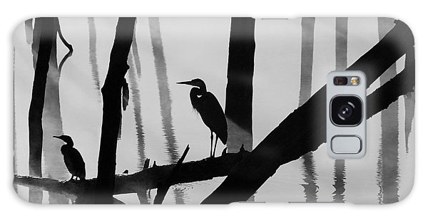 Cormorant And The Heron  Bw Galaxy Case