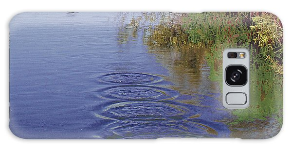 Cormorant Flying Over Lake Creating Concentric Ripples Galaxy Case