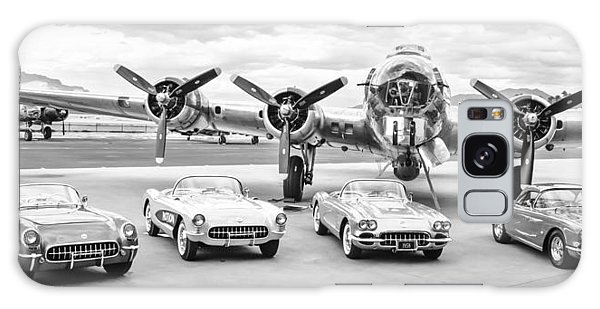 Bomber Galaxy Case - Corvettes And B17 Bomber -0027bw2 by Jill Reger