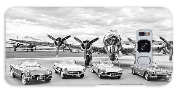 Bomber Galaxy Case - Corvettes And B17 Bomber -0027bw45 by Jill Reger