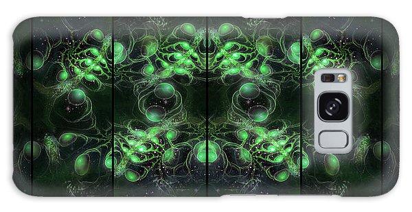 Galaxy Case featuring the digital art Cosmic Alien Eyes Green by Shawn Dall
