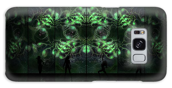 Galaxy Case featuring the digital art Cosmic Alien Vixens Green by Shawn Dall