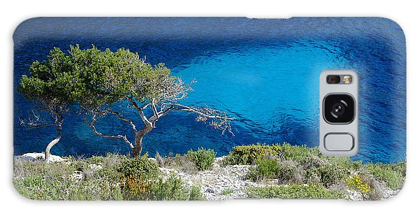 Pine Trees At Azure Waters Galaxy Case