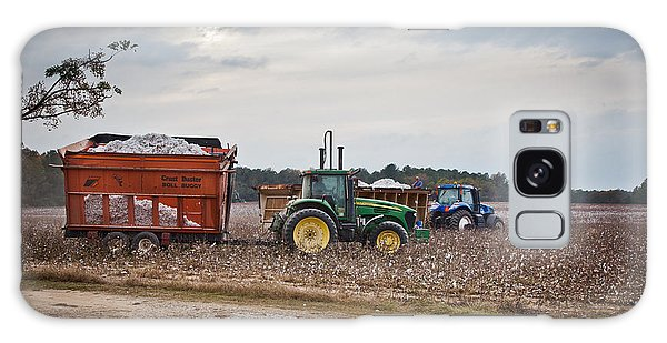 Cotton Harvest With Machinery In Cotton Field Galaxy Case