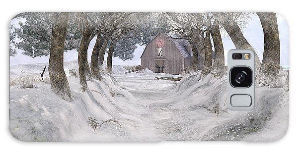 Country Lane In Winter Galaxy Case