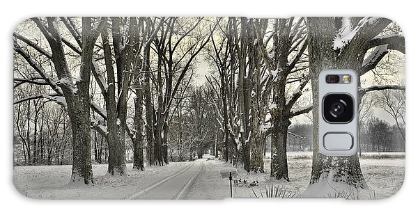 Country Lane In Winter Galaxy Case by Wendell Thompson