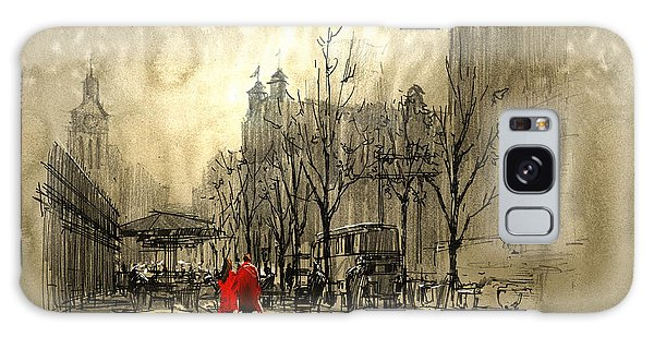Galaxy Case - Couple In Red Walking On Street Of by Tithi Luadthong