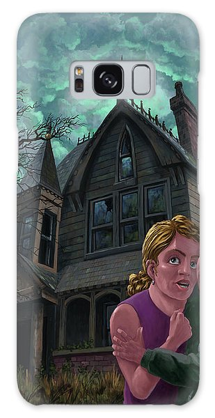 Couple Outside Haunted House Galaxy Case by Martin Davey