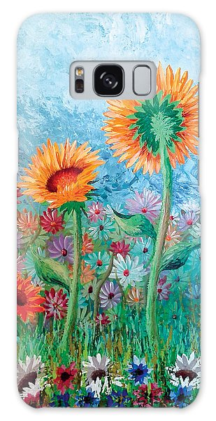 Courting Sunflowers Galaxy Case