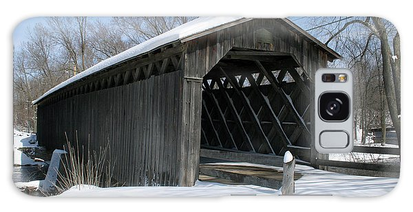 Covered Bridge In Winter Galaxy Case