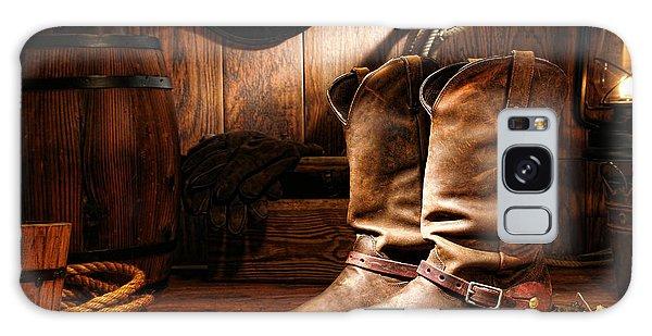 Cowboy Boots In A Ranch Barn Galaxy Case