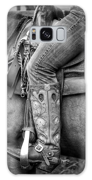 Cowgirl In Black And White Galaxy Case