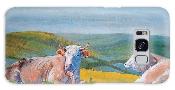 Cows Lying Down Painting Galaxy Case