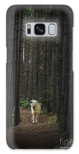 Galaxy Case featuring the photograph Coyote Howling In Woods by Dan Friend