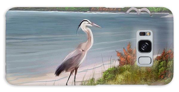 Crane By The Sea Shore Galaxy Case