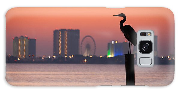 Crane On A Pier Galaxy Case